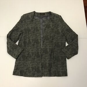 Maggie T Grey Two Tone Abstract Plus Size 16 LinedRound Neck Jacket
