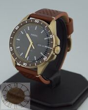 Mens's Fossil Watch, Sport 54 Brown Leather Strap Watch FS5320, New