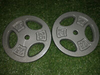 """Cap 25 lb Pound Barbell Weight Plates PAIR Fits 1"""" Bar 50 lbs Total BRAND NEW"""