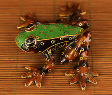 Lovely Chinese Old Cloisonne Hand Painting frog figure Statue Noble gift Art
