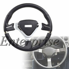 Auto Car Steering Wheel Black 350 mm Tuning Style Pad Horn Type PVC Leather New