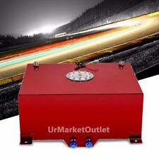 "Red Aluminum 20 Gallon/76L Fuel Cell Tank/Polish Cap Door/2.0"" Sump+Level Sender"