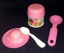 VTG Fisher Price Play Food  ICE CREAM Container Scoop SPOON Plate Pretend  Set