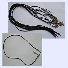 Black Rubber Cord x 10 Necklace OPEN END add beads choker clasp wholesale BULK
