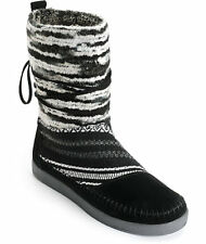 TOMS Womens NEPAL Black Suede Textile Boots, 6.5, Shearling Wool Moccasins, NIB