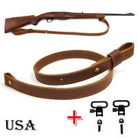 "Genuine Leather Rifle Sling, Cowhide Gun Strap, Adjust Handmade_1"" Wide US Local"