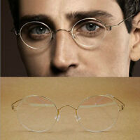 Oval Titanium Vintage Eyeglasses Frames Eyewear No screw design Men Glasses Gold
