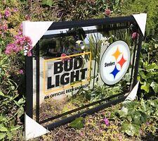 Bud Light Nfl Pittsburgh Steelers Football Beer Bar Mirror Man Cave Pub