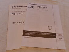Pioneer PD-D6-J proprietari MANUALE ORIGINALE