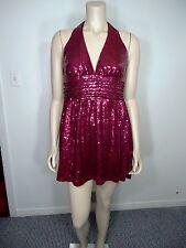 Sequenced Cocktail Dress Gorgeous Burgundy Evening Dress Halter Dress SZ  M NWT