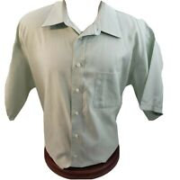Joseph & Feiss Mens Designer Shirt Button Green Fitted No Iron 18.5 Large Pocket