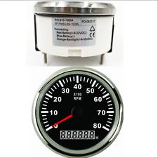 Car Marine Tachometer Tacho Gauge With Hour Meter 8000RPM 85MM 12V/24V