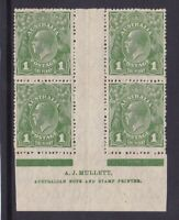G506) Australia 1926 KGV 1d Green SM wmk perf 14 Mullett imprint block of 4