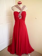 JJ'S HOUSE Red Beaded EVENING GOWN Size 14 BNWT NEW DRESS Long  Cocktail Formal