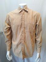 IZOD Cotton Velour Men's Beige Long Sleeve Button Down Casual Shirt Size Medium