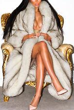 Marvelous piena lunghezza Bianco Blu Ombra SAGA FOX vera pelliccia Lunga Cappotto Giacca L XL