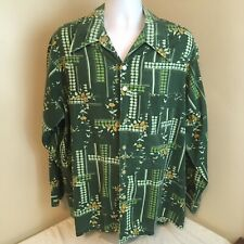Vtg Don Loper California Duke Hollywood Shirt 2X Big Green Floral Free Shipping!