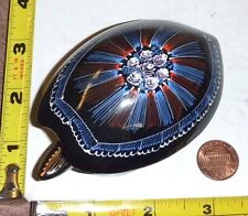 Hand-Painted Lacquer/Paper Mache Turtle Trinket Box - Folk Art - Very Nice !