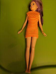 HTF Vintage Twiggy Barbie Doll Colorful Knit Dress 1966 #1727