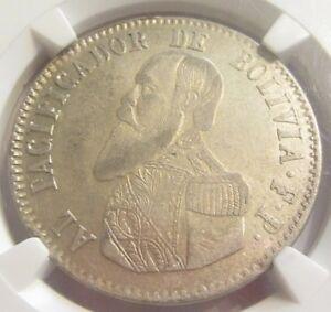 1 Silver Republic Melgarejo Bolivia 1865 NGC XF-45. Rare! Lots of Mint Luster!!