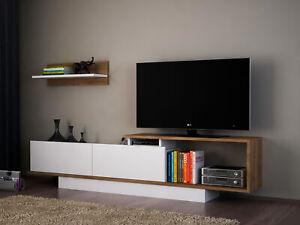 Wohnwand Weiß TV Lowboard Holz Wohnzimmerschrank modern Sideboard Anbauwand 3573
