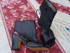 Size 6 Peep tOE mULES shoebOOTS BRONX Leather cut out Sling back Mules BNWOB