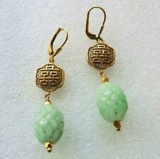 Vintage Chinese 24kt Gold Vermeil Sterling Jade Double Happiness Signed Earrings