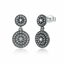 Wostu New S925 Sterling Silver Stud Dangle Earrings with CZ For Women Jewelry
