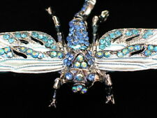 AB BLUE TEAL RHINESTONE FLY BUG INSECT DRAGONFLY PIN BROOCH PENDANT MOVABLE 3""