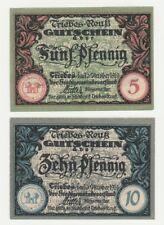 Germany 5 & 10 Pfennig 1919 Notgeld Triebes UNC Small Banknote Set - 2 pcs