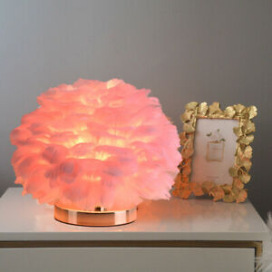 Romantic Feather Table Lamp Luxury Bedside Light