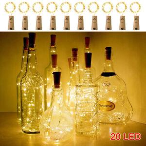10X 20LED Fairy Light Wine Bottle String Lights Cork Copper Wire Christmas Decor