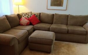 Sofa Set in Fabric 3 Pieces, Couch, Loveseat and Ottoman, Khaki ... barely used