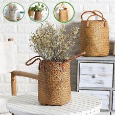 Flower Plant Woven Rattan Pot Garden Home Cloth Storage Straw Baskets Organizer*