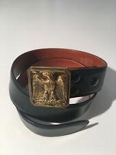 Auth. RALPH LAUREN Black Leather Brass EGLE Backle Belt sz 30