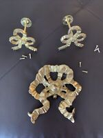 Lot 3 Vintage Solid Brass Ribbons Bows Decorative Curtain Holders Tie Backs Hook