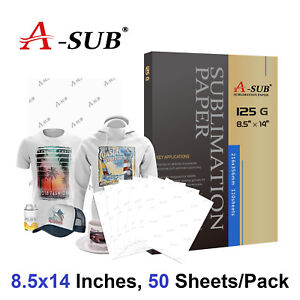 A-SUB 50 Sheets 8.5x14 125g Dye Sublimation Heat Transfer Paper Mugs Cotton Poly