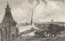 Moscou Russie Москва Moskva esplanade du Kremlin gravure 1838