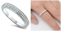 Sterling Silver 925 MICRO PAVE SETTING WEDDING BAND CLEAR CZ RING 4MM SIZES 5-10