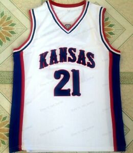 Joel Embiid #21 Kansas Jayhawks College Basketball Jersey Men's Stitched White