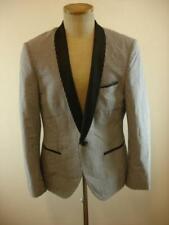 Mens 38R We Fashion Black White Gingham Tuxedo Jacket Blazer Satin Shawl Collar