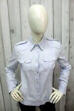 DONDUP Donna Taglia S Camicia Blu Cotone Chemise Shirt Casual Manica Lunga