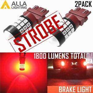 AllaLighting 3157 Legal Strobe Red Brake Light Bulb Flash Blinking Alert → Solid