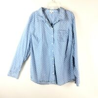 Crown And Ivy Small Chambray Polka Dot Long Sleeve Button Down Top Cotton Sz L