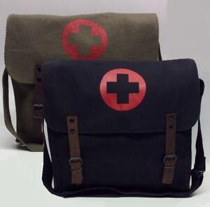 MEDIC BAG RETRO MESSENGER MEDICAL ARMY MILITARY SATCHEL WEBBING VINTAGE