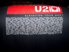 U2 Elevation Tour T shirt: 2001 Size XL Adult USA Short Sleeve Tee GRAY murina