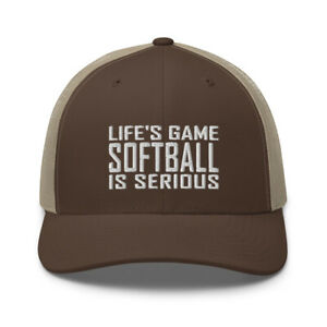 Funny Softball Team Player Fan Lover Embroidered Trucker Hat Cap Clothing Gift