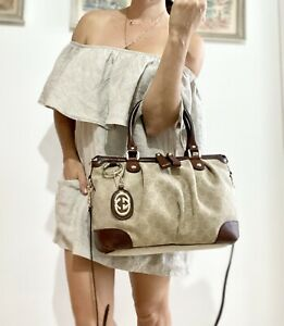 Authentic GUCCI Monogram GG BAG PURSE BROWN LEATHER Two Way