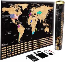 Scratch off World Map Poster, Unique USA Flag, Black Edition Scratch Map, Large