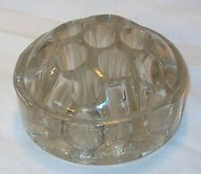 Vintage 3 footed Heavy Clear Glass Flower Arranging Frog 11 Hole 2-3/4""